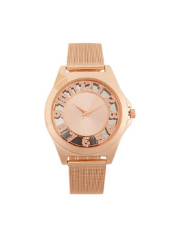 Rhinestone Numbers Metallic Mesh Watch - 3140071431185