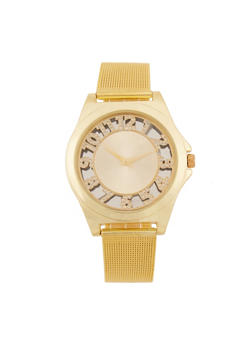 Rhinestone Numbers Metallic Mesh Watch - 3140071431185