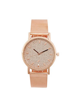 Glitter Face Watch with Metallic Mesh Band - 3140071431252