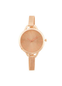 Oversized Face Watch with Skinny Metal Mesh Band - 3140071431258