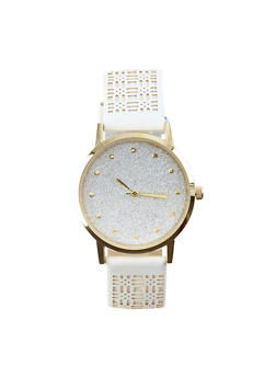 Glitter Face Watch with Lasercut Faux Leather Strap - 3140071431307