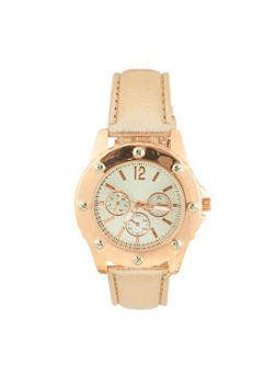 Embossed Faux Leather Bezel Watch - 3140071431308