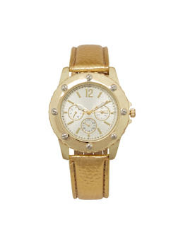 Embossed Faux Leather Bezel Watch - 3140071431308
