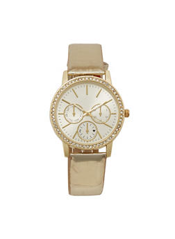 Rhinestone Bezel Watch with Metallic Strap - 3140071431309