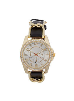 Rhinestone Bezel Watch with Faux Leather and Metal Strap - 3140071431478