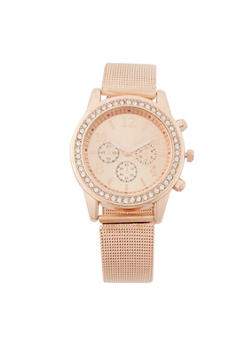 Rhinestone Bezel Watch with Metallic Mesh Strap - 3140071431830