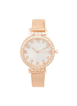 Rhinestone Bezel Number Watch with Mesh Strap - 3140071431850