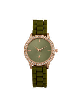 Rhinestone Bezel Watch with Rubber Chain Strap - 3140071432092
