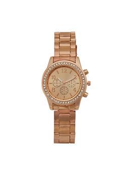 Rhinestone Bezel Metal Watch - 3140071432108