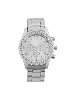 Rhinestone Bezel Metallic Watch - 3140071432145