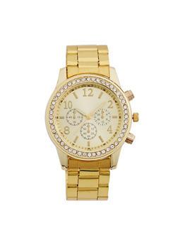 Rhinestone Bezel Metallic Watch - 3140071432145