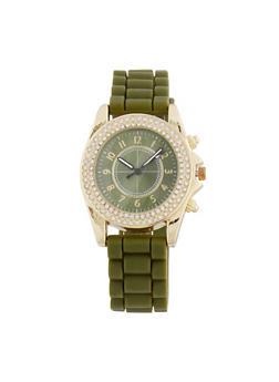 Textured Silicone Rhinestone Watch - 3140071432216