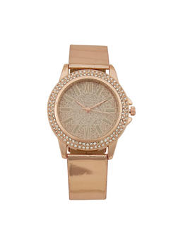 Glitter Face Rhinestone Bezel Watch - 3140071432236