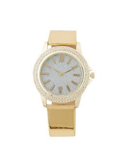 Glitter Face Rhinestone Bezel Watch - 3140071432236