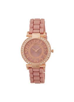 Rhinestone Watch with Silicone Strap - 3140071432259