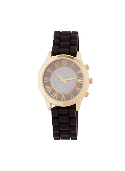 Glitter Face Watch with Rubber Chain Strap - 3140071432263
