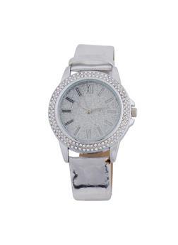 Mirrored Metallic Rhinestone Watch - 3140071432363