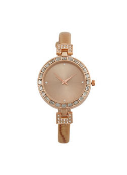 Rhinestone Bezel Watch with Thin Faux Leather Strap - 3140071432369