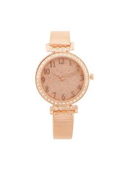 Glitter Face Watch with Metallic Mesh Wrist Band - 3140071432515