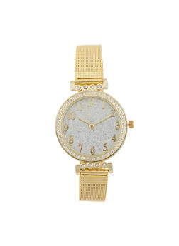 Glitter Face Watch with Metallic Mesh Wrist Band - 3140071432515