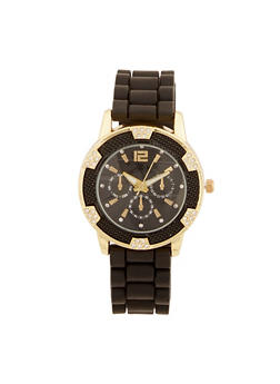 Rhinestone and Textured Bezel Watch with Rubber Strap - 3140071432522