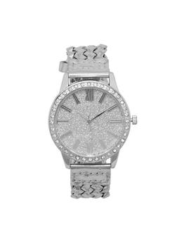 Glitter Rhinestone Watch with Woven Strap - 3140071432523