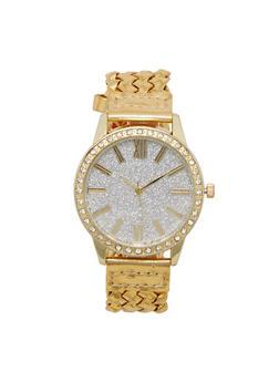 Glitter Rhinestone Watch with Woven Strap - 3140071432523