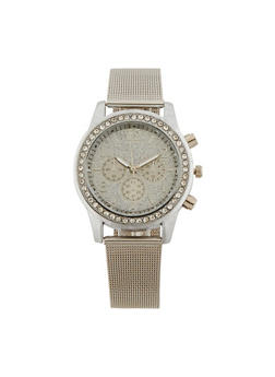 Glitter Face Watch with Thick Metal Mesh Strap - 3140071432524