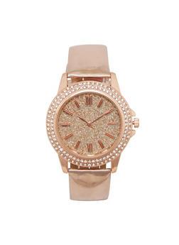 Glitter Rhinestone Watch with Metallic Strap - 3140071432536