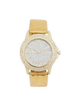 Glitter Rhinestone Watch with Metallic Strap - 3140071432536