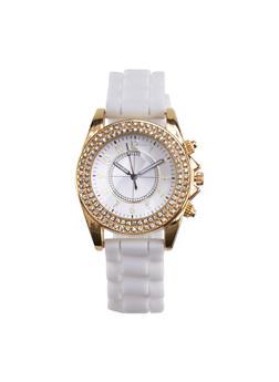 Rhinestone Bezel Watch with Rubber Chain Strap - 3140071432641