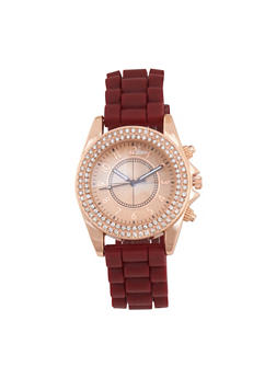 Rhinestone Bezel Watch with Rubber Chain Strap - 3140071432641