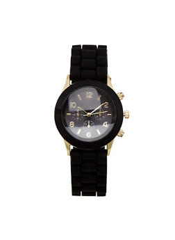 Solid Bezel Number Watch with Rubber Strap - 3140071432858