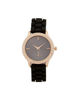 Rhinestone Watch with Silicone Strap - 3140071432902