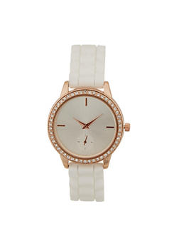 Rhinestone Watch with Silicone Strap - 3140071432902