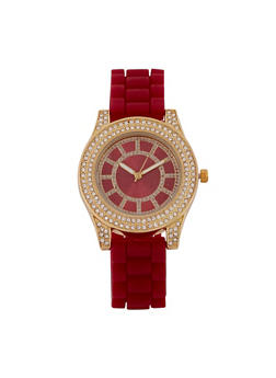 Rhinestone Watch with Silicone Strap - 3140071432903