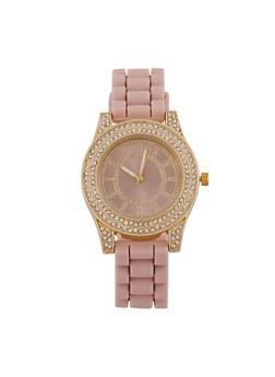Rhinestone Watch with Silicone Strap - 3140071432903
