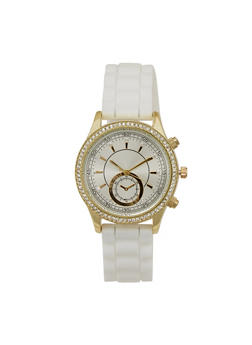Rhinestone Bezel Watch with Rubber Chain Strap - 3140071432904