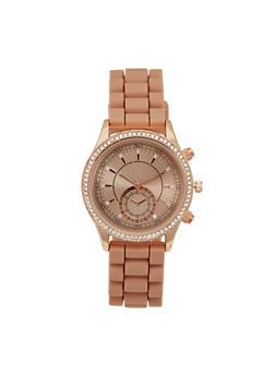 Rhinestone Bezel Watch with Rubber Chain Strap - 3140071432904