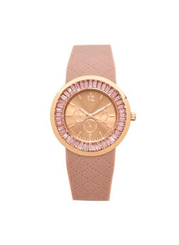 Embossed Silicone Rhinestone Watch - 3140071432907