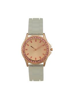 Clear Silicone Strap Rhinestone Watch - 3140071432910