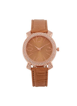 Rhinestone Watch with Embossed Faux Leather Strap - 3140071433010
