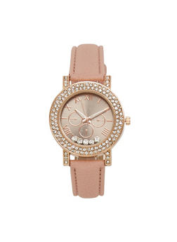 Floating Rhinestone Faux Leather Watch - 3140071433012