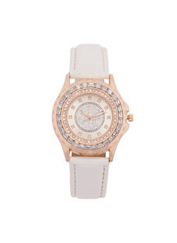 Rhinestone Bezel Watch with Faux Leather Strap - 3140071433020