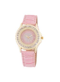 Rhinestone Bezel Watch with Faux Leather Strap - 3140071433020