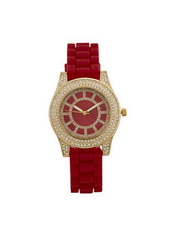 Rhinestone Bezel Watch with Rubber Chain Strap - 3140071433092
