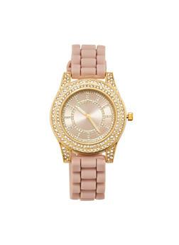 Rhinestone Bezel Watch with Rubber Chain Strap - 3140071433092