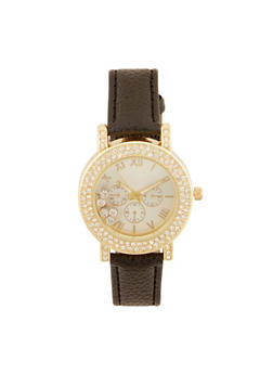 Rhinestone Bezel Watch with Floating Crystals - 3140071433210