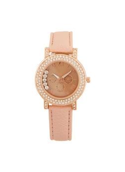 Rhinestone Bezel Watch with Floating Crystals - 3140071433210
