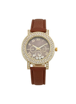 Floating Rhinestone Bezel Watch with Faux Leather Strap - 3140071433220